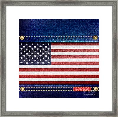 Stars And Stripes Denim Framed Print by Jane Rix