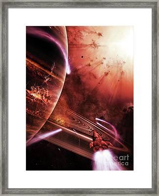 Starships Hone Their Skills Framed Print by Brian Christensen