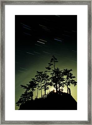 Startrails And Moonlit Fog, Canada Framed Print by David Nunuk