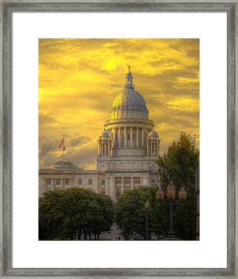 Statehouse At Sunset Framed Print by Jerri Moon Cantone