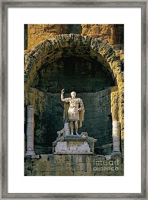 Statue De L'empereur Auguste Dans Le Theatre D'orange. Framed Print by Bernard Jaubert
