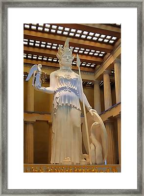 Statue Of Athena And Nike Framed Print by Linda Phelps