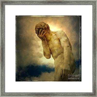 Statue Of Human Covering Face Framed Print by Bernard Jaubert