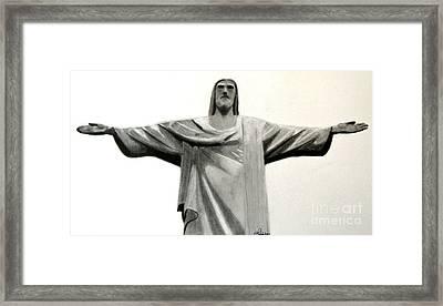 Statue Of Jesus In Rio Framed Print by Claudiu Radulescu