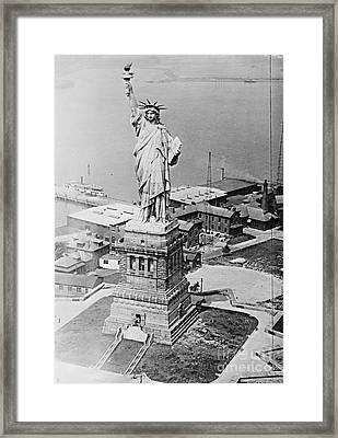 Statue Of Liberty Aerial View 1920 Framed Print by Padre Art