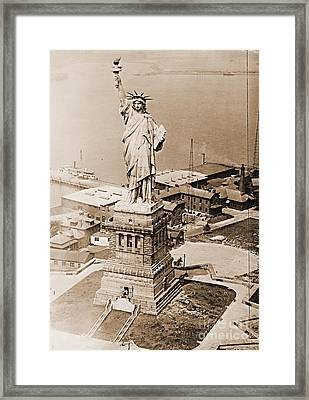 Statue Of Liberty Aerial View 1920 Sepia Framed Print by Padre Art