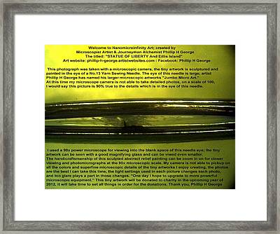 Statue Of Liberty Yarn Sewing Needle Framed Print by Phillip H George
