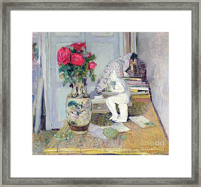 Statuette By Maillol And Red Roses Framed Print by Edouard Vuillard