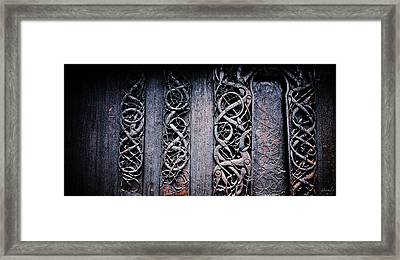 Stave Carving Framed Print by Chad Bromley
