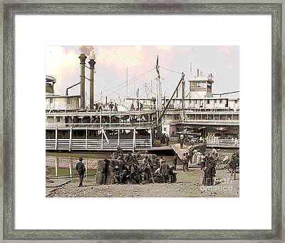 Steamboat Landing 1905 Colorized Framed Print by Padre Art