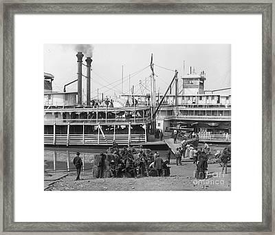 Steamboat Landing 1905 Framed Print by Padre Art