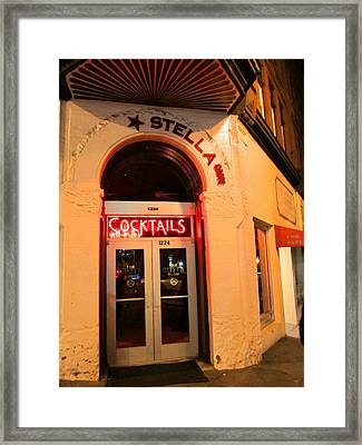 Stella Cocktail Bar At Night Framed Print by Kym Backland