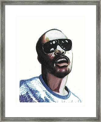 Stevie Wonder Framed Print by Emmanuel Baliyanga