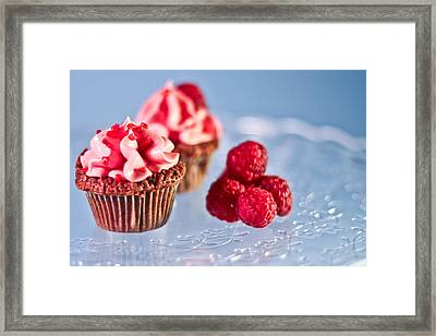 Sticky Raspberry Chocolate Cupcake Framed Print by Birgitta Forsberg