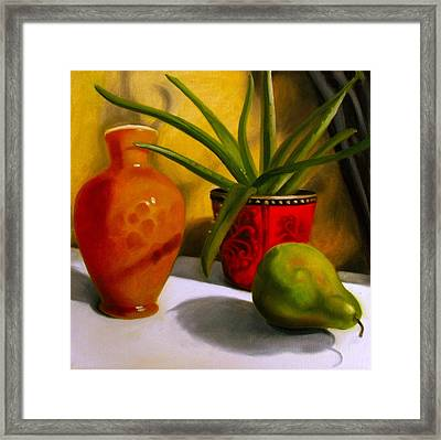 Still Life Aloe Plant With Pear Framed Print by Darlene Keeffe