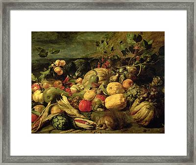 Still Life Of Fruits And Vegetables Framed Print by Frans Snyders