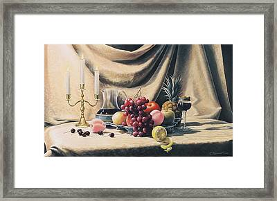 Still Life On A Gold Framed Print by Oleg Bylgakov