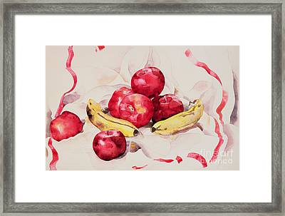 Still Life With Apples And Bananas Framed Print by Charles Demuth