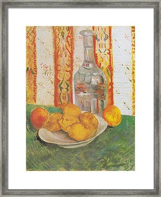 Still Life With Decanter And Lemons On A Plate Framed Print by Vincent Van Gogh