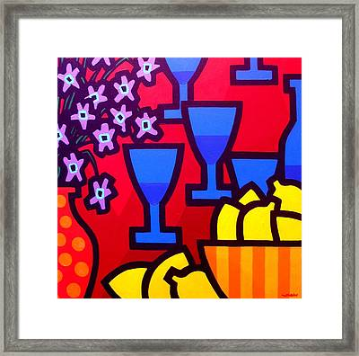 Still Life With Five Blue Glasses Framed Print by John  Nolan