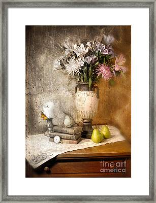 Still Life With Flowers And Pears Framed Print by Jill Battaglia