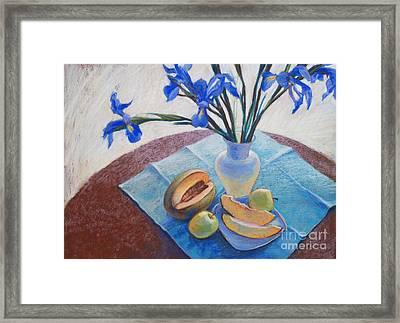 Still Life With Irises. Framed Print by Ekaterina Gomol