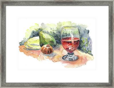Still Life With Red Wine Glass Framed Print by Miki De Goodaboom