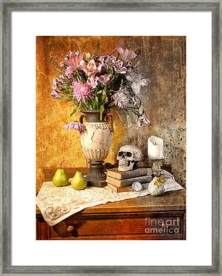 Still Life With Skull Framed Print by Jill Battaglia