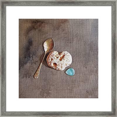 Still Life With Teaspoon And Heart Stone Framed Print by Elena Kolotusha