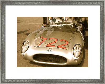 Stirling Moss 1955 Mille Miglia 722 Mercedes Framed Print by John Colley