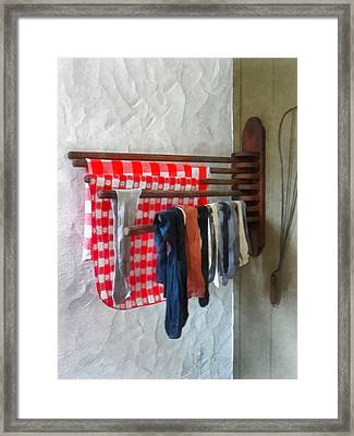 Stockings Hanging To Dry Framed Print by Susan Savad