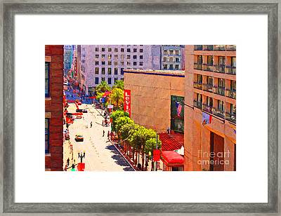 Stockton Street San Francisco Towards Union Square Framed Print by Wingsdomain Art and Photography