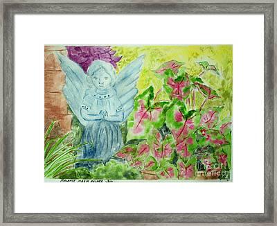 Stone Angel And Caladiums Framed Print by Melanie Palmer