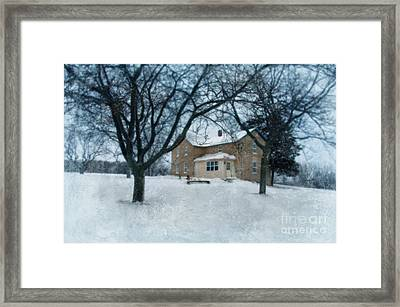 Stone Farmhouse In Winter Framed Print by Jill Battaglia
