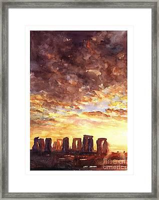 Stonehenge Sunrise Framed Print by Ryan Fox