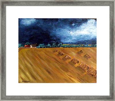 Stooks At Winkleigh Framed Print by Sandy Wager