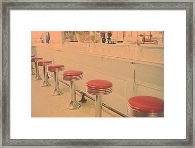 Stools At Bar Counter Framed Print by Carol Whaley Addassi