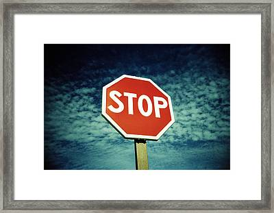 Stop Sign Framed Print by Kevin Curtis
