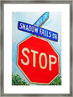 Stop Sign Sketchbook Project Down My Street Framed Print by Irina Sztukowski