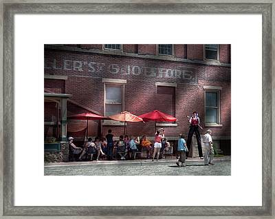 Storefront - Bastile Day In Frenchtown Framed Print by Mike Savad