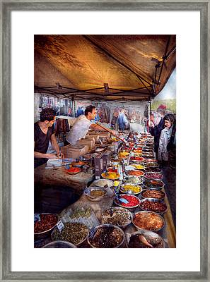 Storefront - The Open Air Tea And Spice Market  Framed Print by Mike Savad