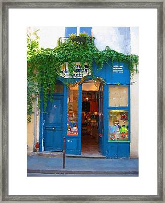 Storefront In Paris France Framed Print by Michael Meinberg