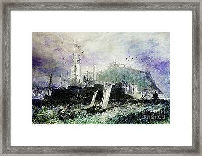 Storm At Scarborough Framed Print by Lianne Schneider