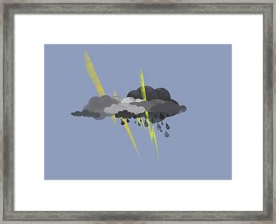 Storm Clouds, Lightning And Rain Framed Print by Jutta Kuss