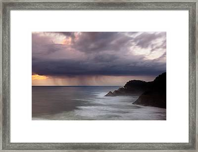 Storm Over Heceta Head  Framed Print by Keith Kapple