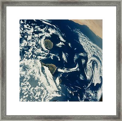 Stratus Cloud Formations Over Canary Framed Print by Nasa