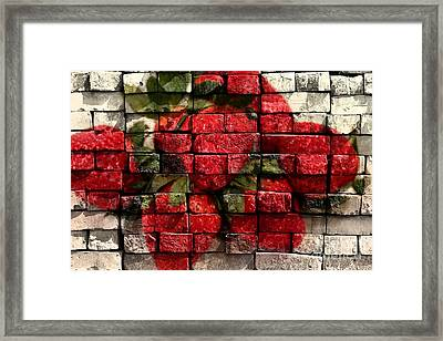 Strawberries On Bricks Framed Print by Barbara Griffin