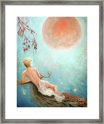 Strawberry Moon Nymph Framed Print by Michael Rock