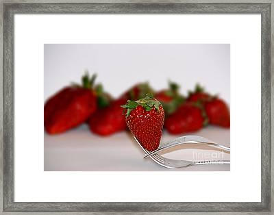 Strawberry On Spoon Framed Print by Soultana Koleska