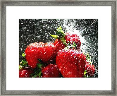 Strawberry Splatter Framed Print by Colin J Williams Photography